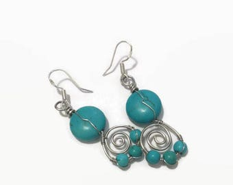 Turquoise Wire Wrap Earrings/ Wire Wrap Jewelry/ Turquoise Jewelry/ Dangle Earrings/ Drop Earrings/ Wire Wrapped