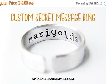 WEEKEND SALE Custom Secret Message Hand Stamped Ring