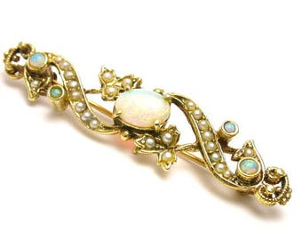 14k Yellow Gold Opal and Seed Pearls Pin Brooch - Barrette - Weight 4.5 Grams - October Birthstone # 601
