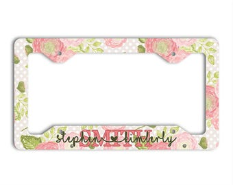 Family name heart font, Personalized floral license plate cover or frame, Pink and green auto accessories, Unique monogram gift (1759)