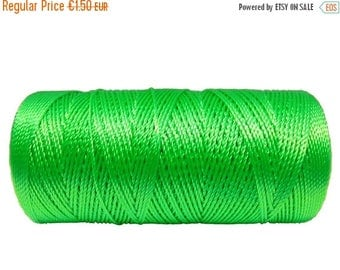 ON SALE Crochet Thread - 15 Meters/16 Yards Nylon Cord (not waxed) - Macrame Cord 0.8mm - NEON Green