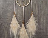 CLOSING OUT SALE Dream Catcher Cream Deerskin with Peacock Eye Feathers