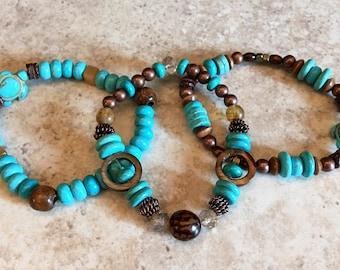 RESERVED for Barb. Howlite Turquoise Beaded Bracelet Set, Boho Bracelet Stack, Bohemian Bracelets with Turtle Beads, Heaven and Earth, Boho