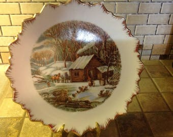 Vintage Currier & Ives Decortive Plates, Set Of Four Winter Scenes
