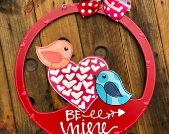 Valentine's Day love birds Door Hanger handpainted hand lettered