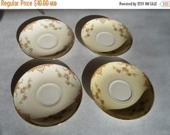 "ON SALE Vintage Set of Four 1940s Homer Laughlin ""Aristocrat"" Pattern Eggshell Nautilus Saucers Plates Cottage Chic Shabby Chic"