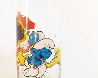 ON SALE Vintage 1982 Smurf Glass, Jokey Smurf, Peyo 1982 Licensed Cartoon, Tumbler, Glassware, Blue, Brown, White, Red