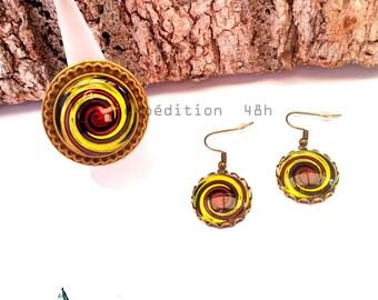 Set ring, earrings, swirl, swirl, chocolate, green anise, fashion, retro