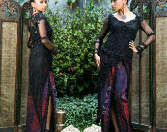 Vintage Designer Dress - Ethnic Black Couture Beaded Lace Long Kebaya Maxi Dress Evening  Gown with Batik - Luire by Raden Sirait