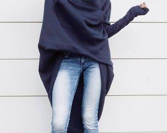 SALE Navy Extravarant Maxi Asymmetric Hoodie / Fleece Cotton Warm  Top A08023