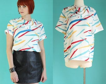 Vintage 70s Summer Blouse - Striped Shirt - Abstract Print Short Sleeve White Shirt - Colorful Shirts - Hipster Clothing - Size Med / Large