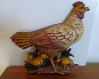 Vintage Mid Century,SYROCO Wall Hanging Chicken with Chicks
