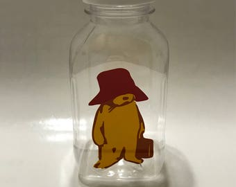 1- Paddington Bear 8 oz or 12 oz Vinyl Cup Plstic Milk Bottle with Lid