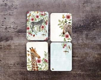 Printable project life journal cards.  Pocket cards, digital scrapbooking. Digital stationery. Vintage Nature. Zebra. Giraffe
