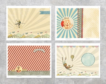 Printable 5x7 Journal Pages - Illustrated Pages - Inserts - Junk Journal - Vintage Circus
