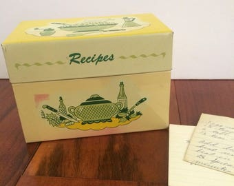Vintage pink and green metal recipe box, Ohio Art recipe box