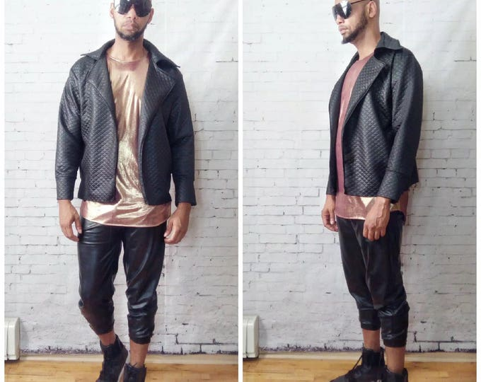 Quilted Coated Jersey Motorcycle /Moto  Jacket