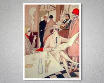 Au Cafe by Gerda Wegener - Poster Paper, Sticker or Canvas Print / Gift Idea