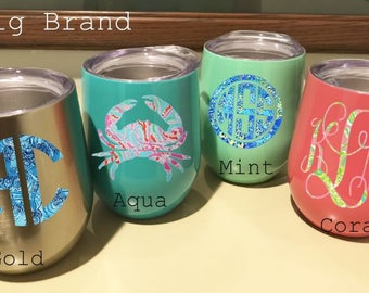 Lilly Pulitzer Inspired Monogram or Name Design on 12oz. SWIG Stainless Steel Metal insulated stemless Wine Tumbler, Yeti like & powder coat