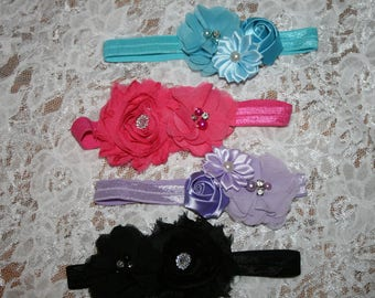 Baby Girls Fancy HEADBANDS w/ Chiffon Flowers & Rhinestone Centers New Born Babies Infants Toddlers only 1 ea available SELECT Tab 4 Color