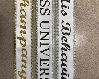 Miss Universe, Miss Argentina, custom made sashes , 40th birthday, sweet 16, Group Costume, Homecoming king and queen Sash