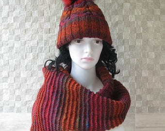 Hat and Scarf Hand knitted set for women, Chunky Knit Beanie Fur Pom pom Red Hat