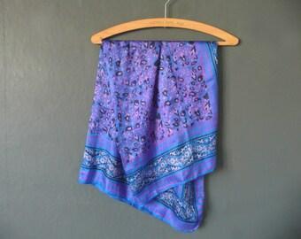 Blue and pink silk scarf - Indian silk scarf - hand made silk scarf - hand printed silk scarf - hand blocked Indian silk scarf