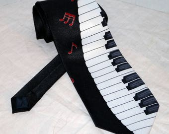 Vintage Piano Keyboard Necktie  - Tie Mania - 100% Polyester - Music Notes - Hand Made