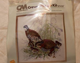 "1977 Columbia-Minerva Crewel Kit - ""Bob White Quail"" - Kit No. 7856 - Complete - 16x16 - Unopened - Hallmark Design Collection"