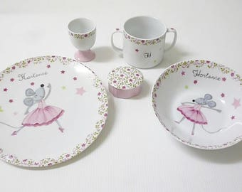 "Plate for children ""mouse dancing"""