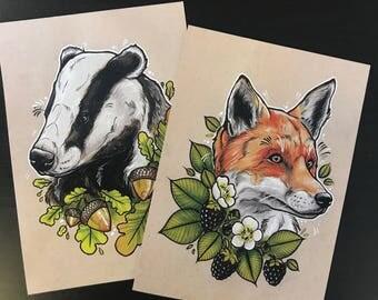 A5 Fox & Badger print set
