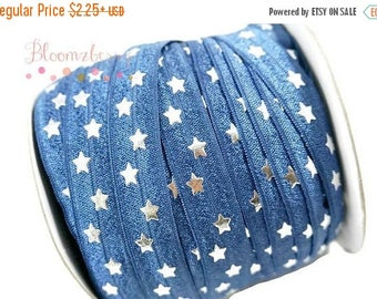 "Summer SALE 10% OFF 5/8"" PRINTED Fold Over Elastic -Navy Silver Stars - Navy Elastic Fold Over - Printed Fold Over Elastic -  Hair Accessori"