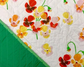 Pansy Garden Whole Cloth Baby Quilt