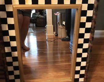 Christine's Hand Painted Black and White Checked Mirror