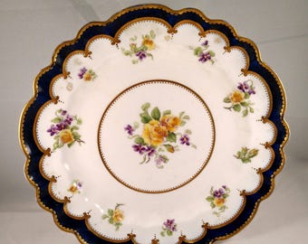 Scalloped Cookie Platter, Floral Motif, Cobalt Blue and Gold Accent Bands, Gold Trim.  Housewarming Gift, Mothers Day Gift, Get Well Gift