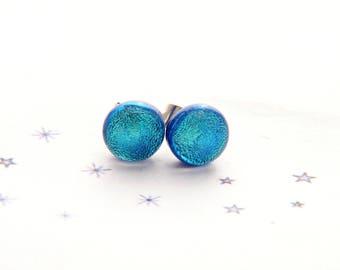 fused glass dichroic turqoise blue bullet Stud Earrings