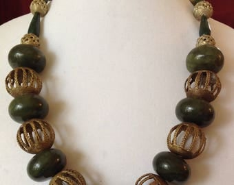 Canadian Green Jade Necklace with African Lost Wax Brass