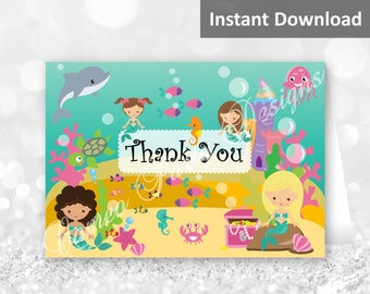 Mermaid Party Thank You Cards, Under the Sea Party Folding Thank You Cards, Mermaid Party Decorations, Printable, Instant Download