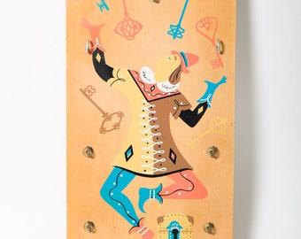 Berggren Trayner Jester Wooden Key Holder Swedish 1960s Clown Motif 1964