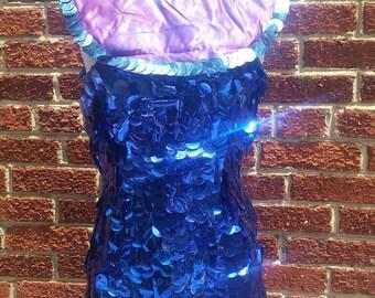 Vintage Circus Costume Huge Sequin Top // Dance Performer // Bib Collar Mini Dress