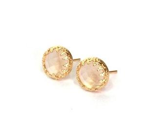 SALE - Rose quartz earrings - Rose earrings - Pink earrings - Quartz earrings - Gemstone earrings - Genuine Rose Quartz stone - Gift for Her