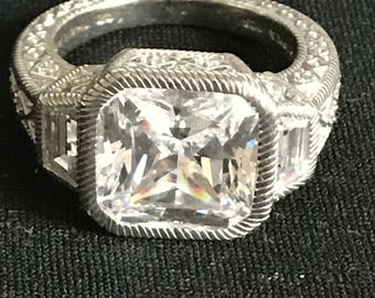 High End Designer JUDITH RIPKA  3 Stone STERLING Silver  Ascher Cut Diamonique Cz 10.65 Carat Size 10 Ring