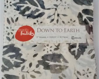 "DOWN to EARTH BATIKS from Clothworks - (42) 5"" factory-cut squares - SQ0137"