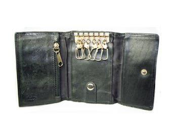 Green Fields - Trifold Key Organizer Black Leather