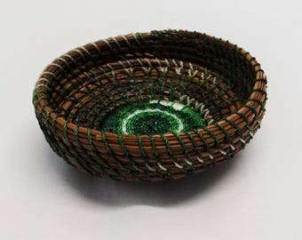 Green Basket Green Pine Needle Coiled Basket Native American Pine Needle Coiled Basket Green Pine Needle Green Trinket Basket For Her