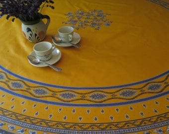 "Round Tablecloth, 70"" diameter. oilcloth , cotton coated. Fabric from Provence , France. Little flowers in yellow."