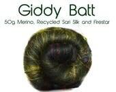 Spinning Batt - Green - Multi coloured - Merino - Recycled Sari Silk - Firestar - 50g / 1.75oz - GIDDY BATT