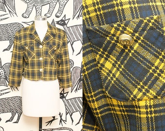 90s Clueless Plaid Crop Jacket // Yellow Preppy Coco Cropped Knit Boxy Blazer Jacket Argyle Coat