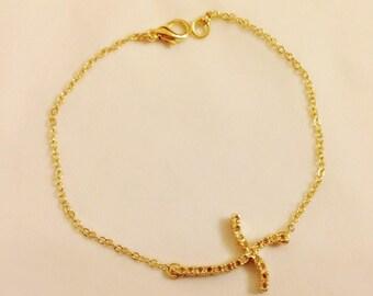 Gold Cross Bracelet, Patriotic Jewelry, Religious Jewelry, Blessing, Cross Charm ,Chain Necklace, Religious Bracelet, Christmas Gift, Baptis