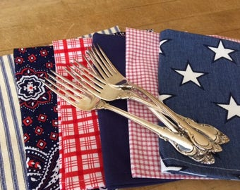 4th of July - Red, White and Blue, Cloth Dinner Napkins, Set of 6, Party Bundle, Family Pack, 15 inch, by CHOW with ME